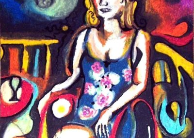 Anna with Absinth - Pecs, June 2003, Oil Pastel, Ink, Paper 24x21 cm