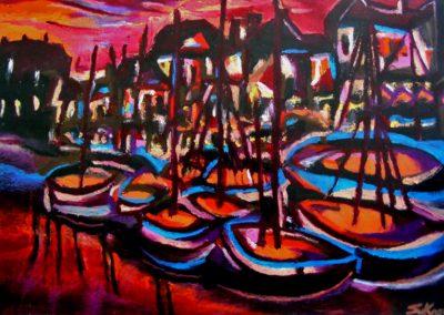 Dawn at Old Port of Copenhagen - Helsingoer, October 2001, Oil Pastel, Paper 30x42 cm