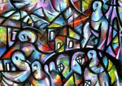 Night at Grenelle - Paris, December 2007, Oil Pastel, Paper 39x34,5 cm