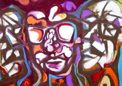 Officialdom - Pecs, October 2002, Oil Pastel, Ink, Paper 36x33 cm