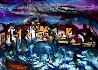 Stormy Coast of Sutivan - Pecs, November 2002, Oil Pastel, Ink, Paper 19x24 cm