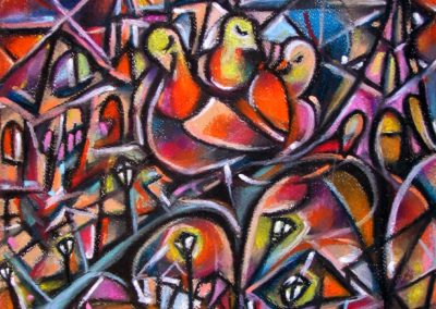 Sunset at Grenelle - Paris, November 2007, Oil Pastel, Paper 39x34,5 cm