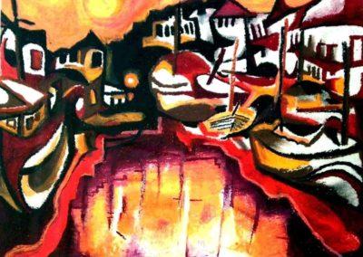 Sunset at Old Port of Copenhagen - Helsingoer, October 2001, Oil Pastel, Paper 30x42 cm