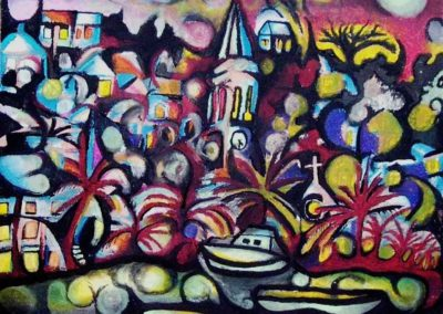 Vision of Splitska - Pecs, June 2003, Oil Pastel, Ink, Paper 44x49 cm