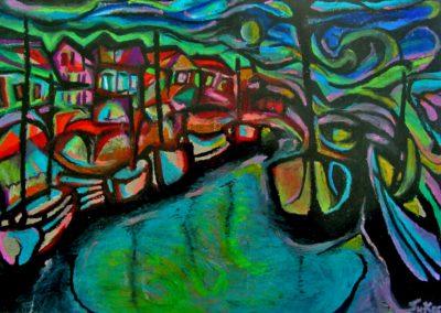 Wisp at Old Port of Copenhagen - Helsingoer, October 2001, Oil Pastel, Paper 30x42 cm