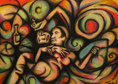 Delirium - Pecs, December 2004, Oil Pastel, Paper 50x70 cm