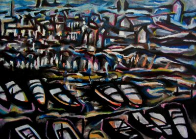 Dockyard on Vltava River - Helsingoer, December 2001, Oil Pastel, Paper 56x76 cm