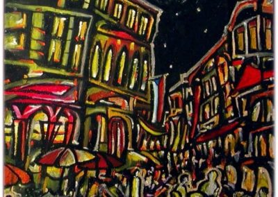 Night in Prague - Helsingoer, October 2001, Oil Pastel, Paper 57x58 cm